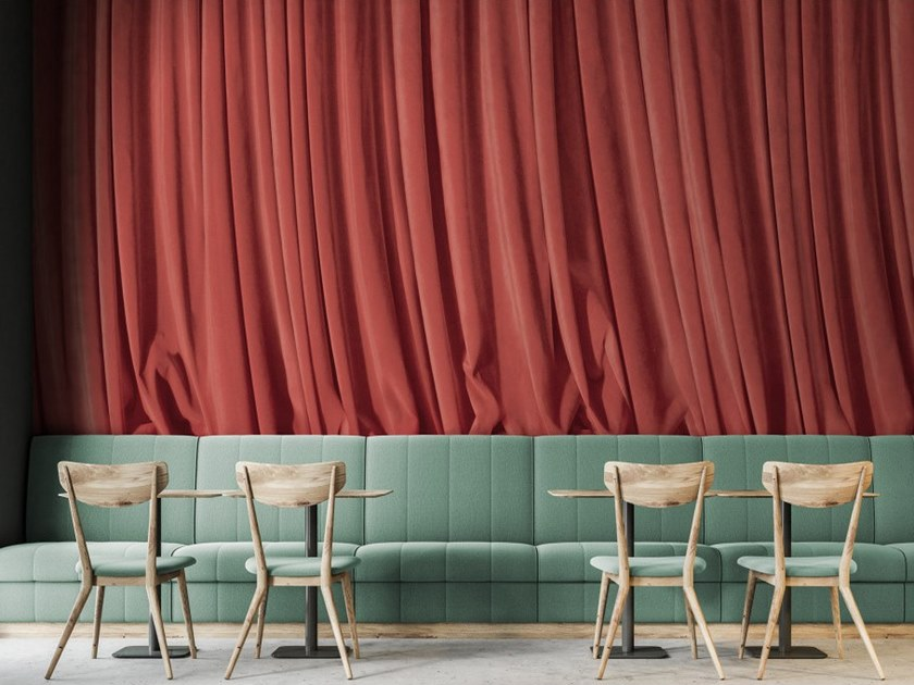 Panoramic fabric wallpaper CORAL CURTAIN by Koziel