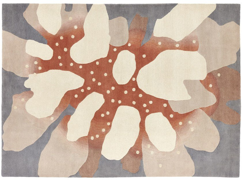 Handmade rug with floral pattern CORAL by Deirdre Dyson