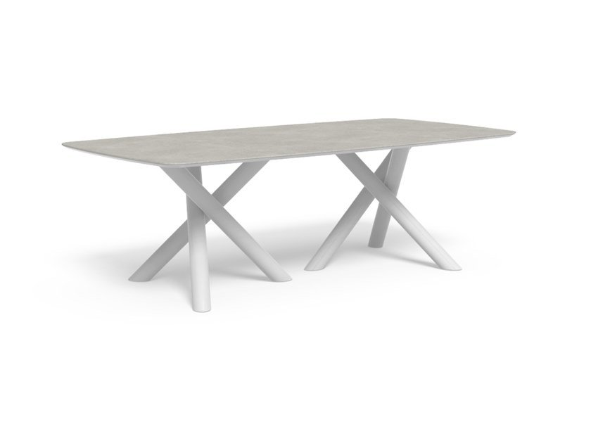 Garden table in aluminum and top in porcelain stoneware CORAL | Rectangular table by Talenti