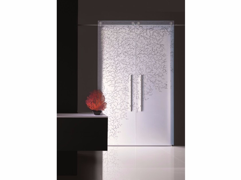 Decorated glass sliding door CORALLO by Casali
