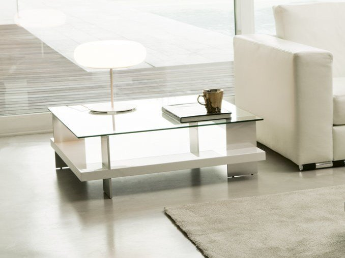 Square coffee table with storage space CORALLO | Lacquered coffee table by Pacini & Cappellini