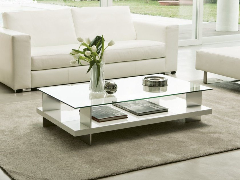 Low coffee table with storage space CORALLO | Rectangular coffee table by Pacini & Cappellini