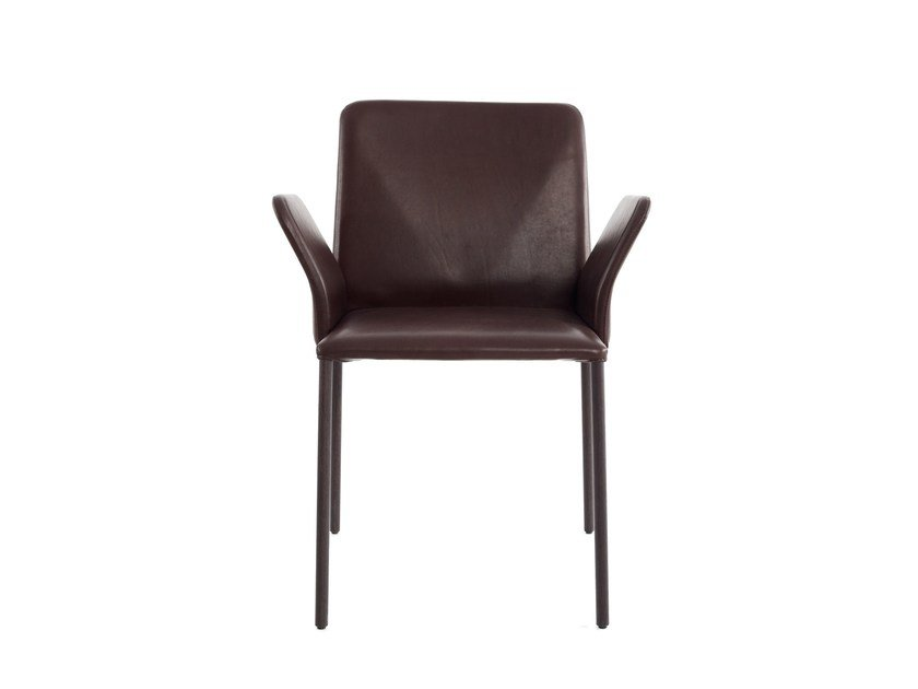 Upholstered leather chair with armrests CORBO | Chair with armrests by more