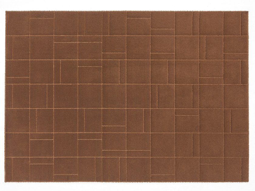 Solid-color rectangular wool rug CORBU by Casalis