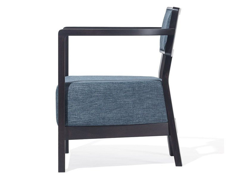 Upholstered wooden armchair with armrests CORDOBA | Upholstered armchair by TON