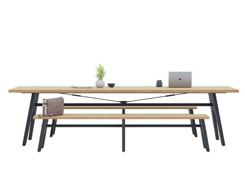 Tavolo rettangolare con piano in laminato e panche integrate CORE & ROVE by Ersa