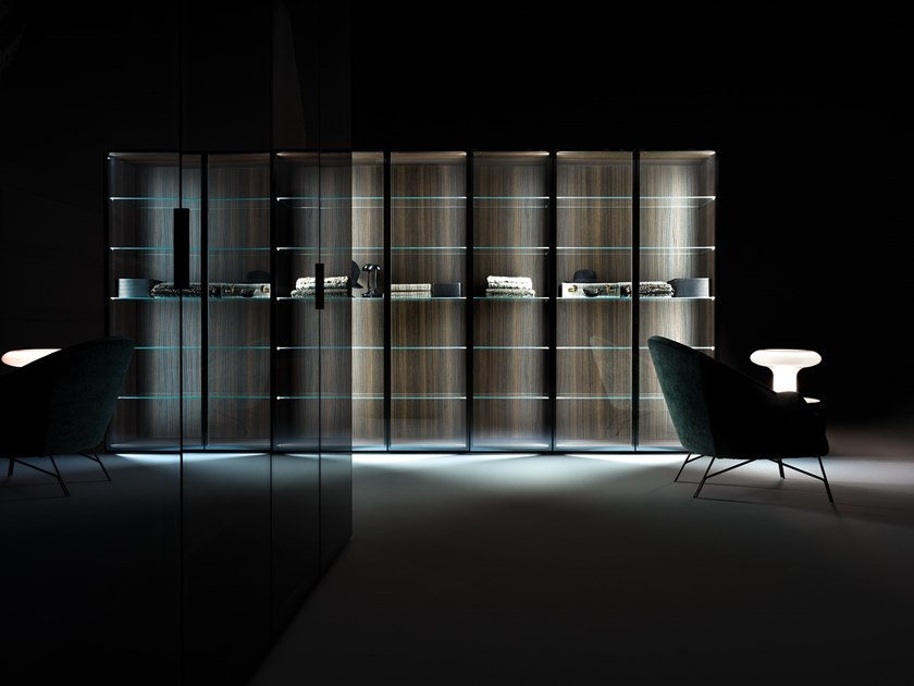 Sectional wood and glass walk-in wardrobe CORE | Wood and glass walk-in wardrobe by Caccaro