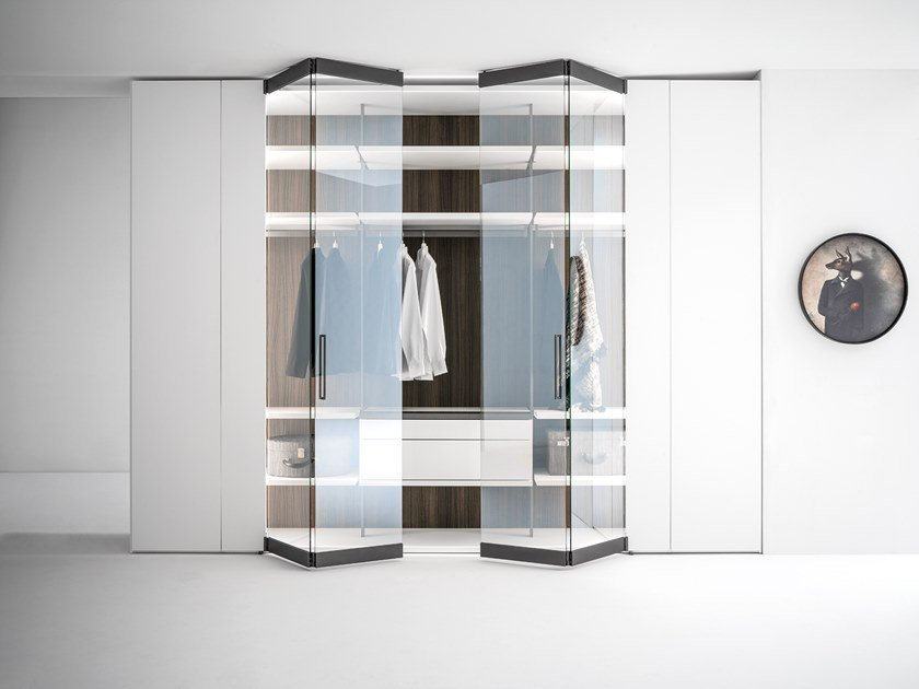 Wood and glass wardrobe with folding doors CORE | Wood and glass wardrobe by Caccaro