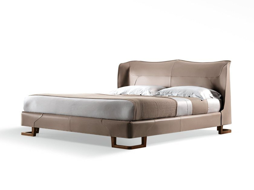 Leather double bed with removable cover CORIUM | Bed by GIORGETTI