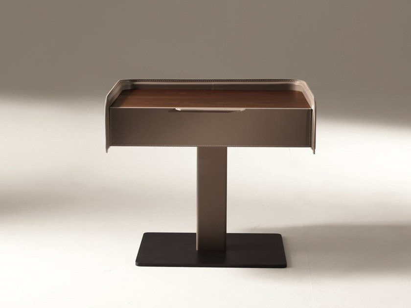 Rectangular leather bedside table with drawers CORIUM | Bedside table by GIORGETTI