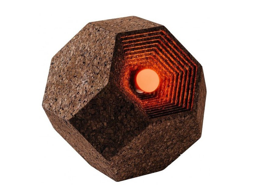 LED cork floor lamp CORKAHEDRON LIGHT by GENCORK