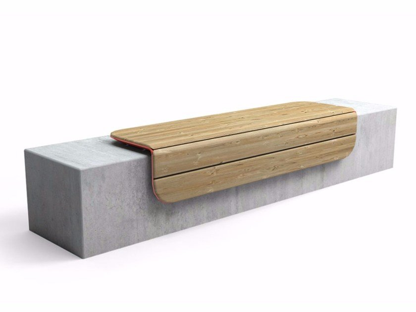 Backless steel and wood Bench CORNER by VESTRE