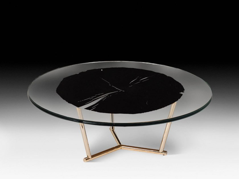 Low round wood and glass coffee table CORVARA by VGnewtrend