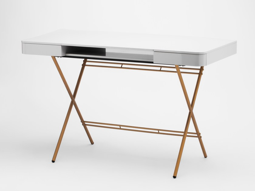 Mdf Writing Desk With Drawers Cosimo Grey Glossy Lacquered Gold By Adentro
