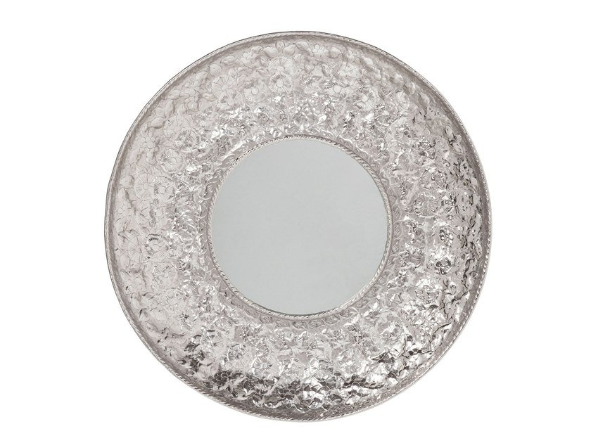 Round framed wall-mounted mirror COSMOS FLOWERS XXL   Mirror by KARE-DESIGN