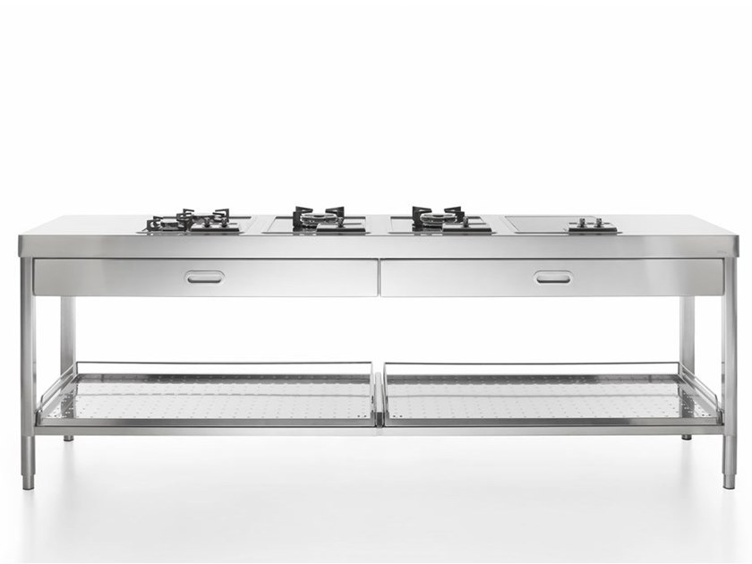 Contemporary style linear steel kitchen unit with integrated handles COTTURA 250   Brushed steel kitchen by ALPES-INOX