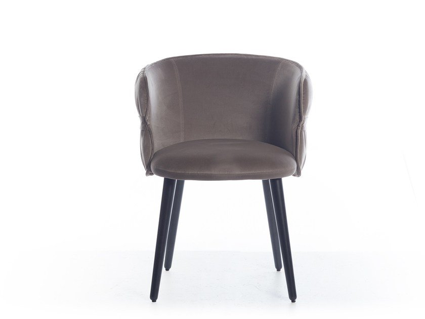 Upholstered fabric chair with armrests COULISSE by Potocco