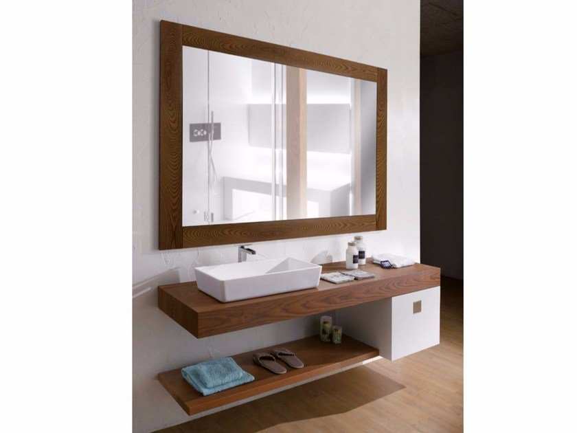 Wall-mounted wooden vanity unit with mirror COUNTER | Vanity unit by CARMENTA