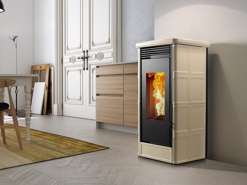 Pellet Class A+ wall-mounted faïence stove COUNTRY EVO by CAMINETTI MONTEGRAPPA