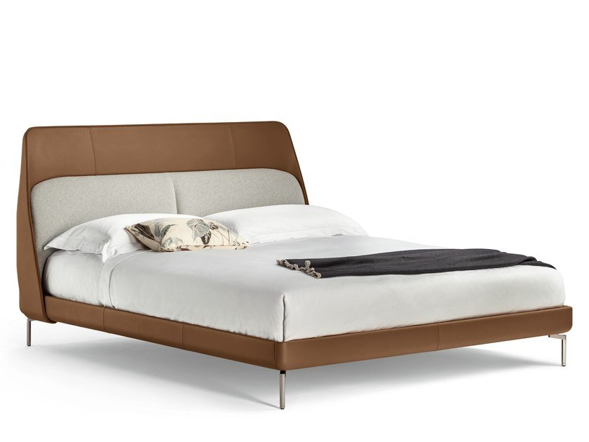 Leather bed with upholstered headboard COUPÉ by Poltrona Frau