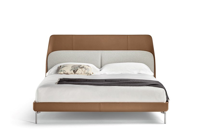 Poltrona Frau Dafne.Leather Bed With Upholstered Headboard Coupe By Poltrona