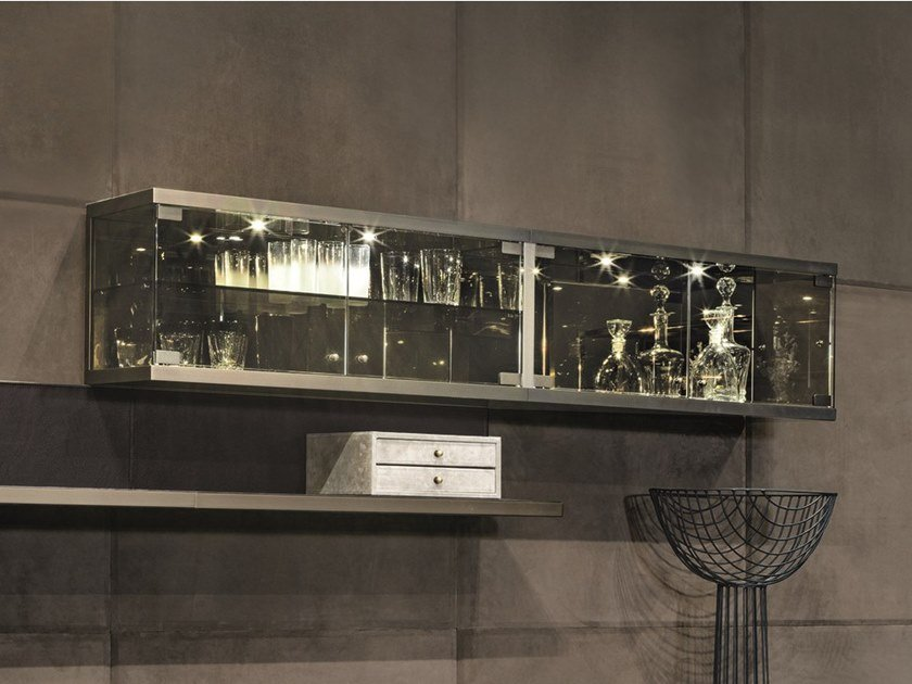Horizontal wood and glass wall cabinet COURBET | Wall cabinet by Longhi