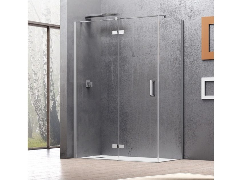 Corner shower cabin with hinged door COVER AF + F3 by RELAX