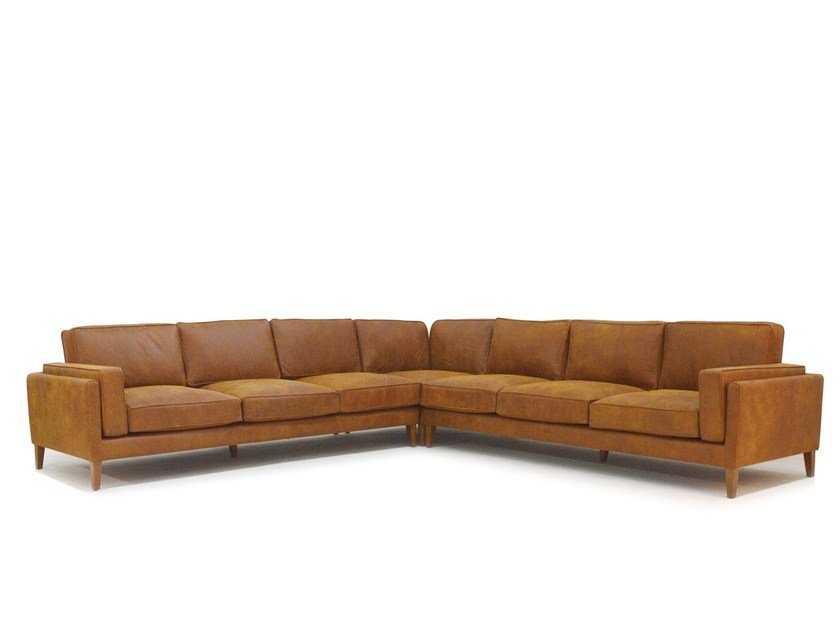 50s Style Corner Modular Leather Sofa COYOACÁN | Modular Sofa By Moanne