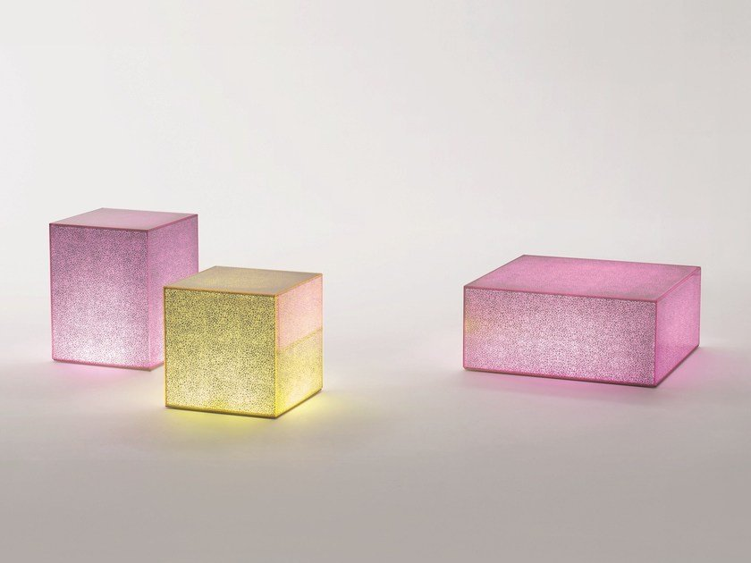 Low square crystal coffee table CRACK by Glas Italia