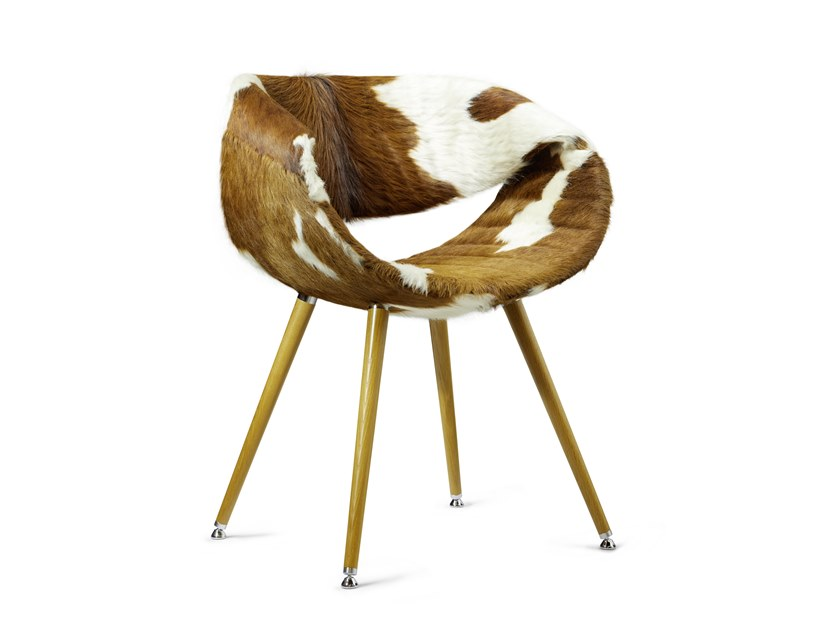 Chair in leather and beech legs with armrests CRAZY LITTLE PERILLO | Beech chair by ZÜCO