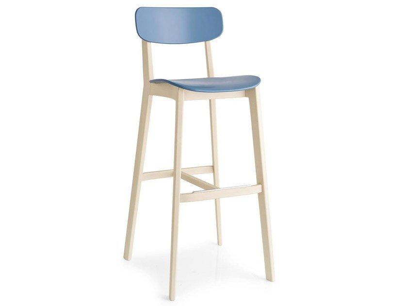 Polypropylene chair with footrest CREAM | Chair by Calligaris