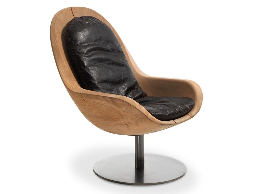 Swivel wooden armchair CREUS by Riva 1920