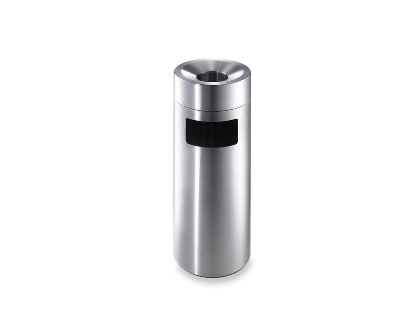 Stainless steel litter bin with ashtray CREW 28 by rosconi
