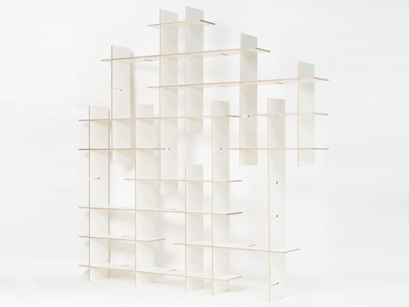 Modular plywood shelving unit CRISS CROSS by Radis