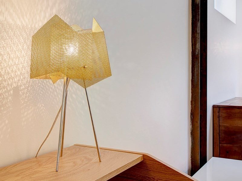 Stainless Steel Table Lamp CRISTAL N°34A By Thierry Vidé Design