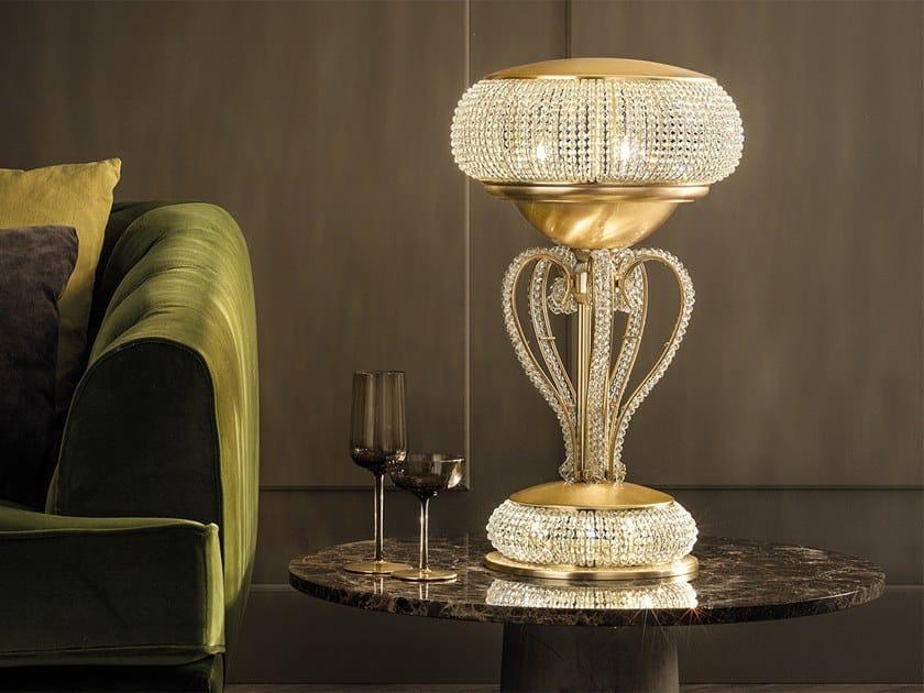Lampada da tavolo a luce indiretta in metallo in stile moderno con cristalli CRISTALIS TL3+2 by Masiero