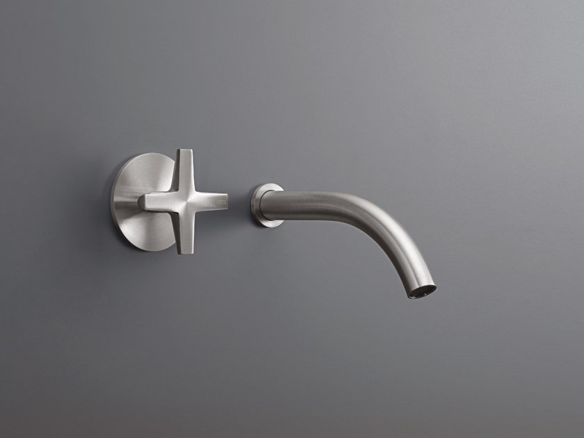 Wall-mounted hydroprogressive stainless steel washbasin mixer CROSS 08 by Ceadesign
