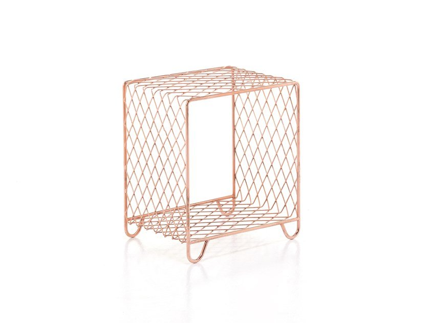 Steel coffee table with integrated magazine rack CROSS 42 by Gervasoni