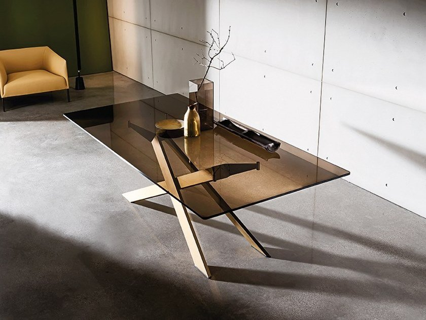 Rectangular glass table CROSS by Sovet italia