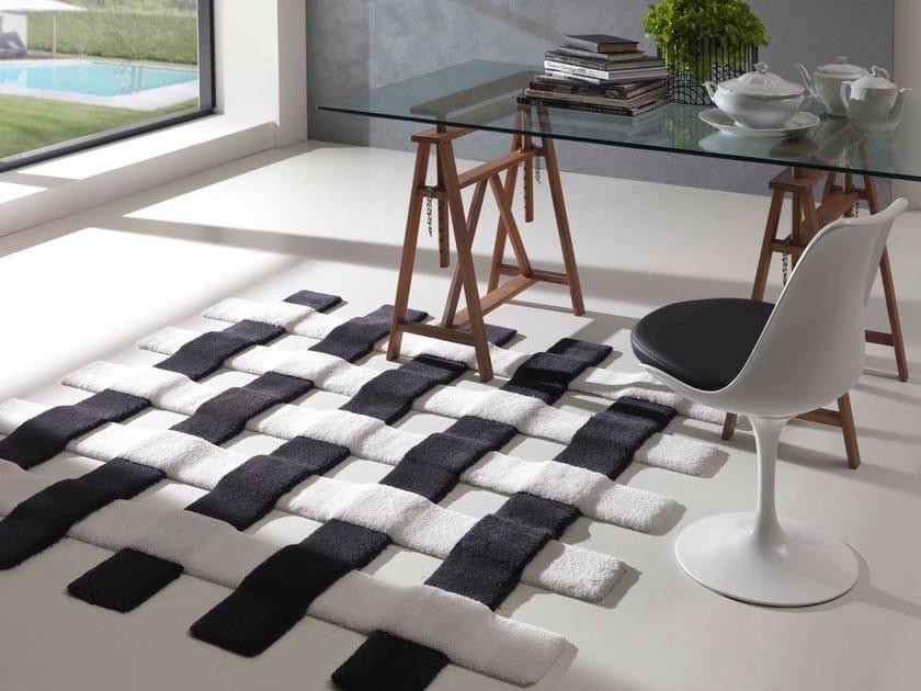 Contemporary style handmade square synthetic fibre rug CROSS | Handmade rug by Besana Moquette