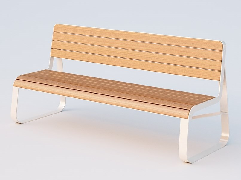 Steel and wood Bench with back CROSS   Bench by DIMCAR