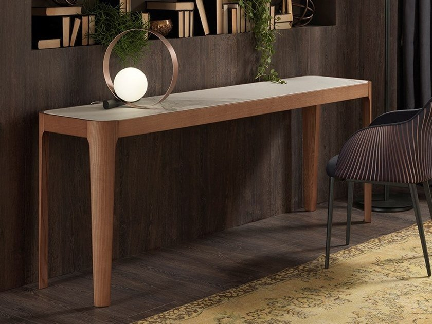 Rectangular wooden console table CROSS by RIFLESSI