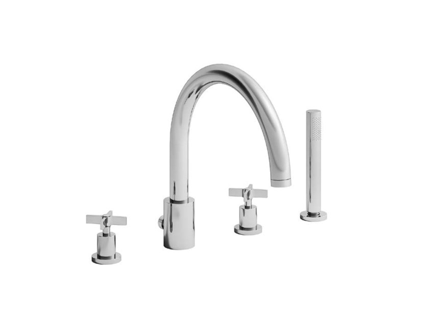 Deck mounted 4 hole bathtub tap with diverter and shower CROSS ROAD | Bathtub mixer with diverter by CRISTINA Rubinetterie