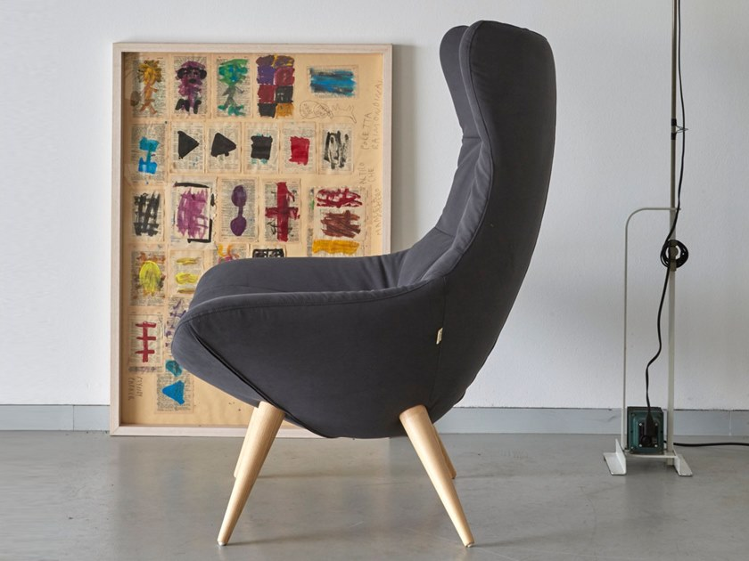 Wing upholstered fabric armchair CROSSOVER by H&Co