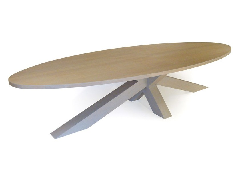 English oak table CROSSTABLE 4 BEAM by ZinX