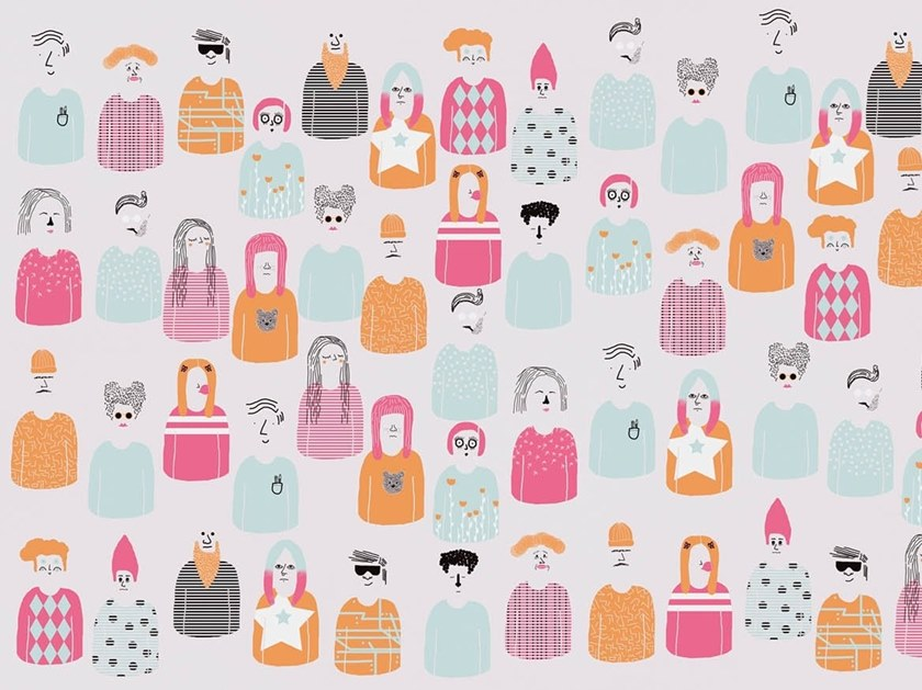 Graphic wallpaper, PVC free, eco, washable CROWDED by Wallpepper