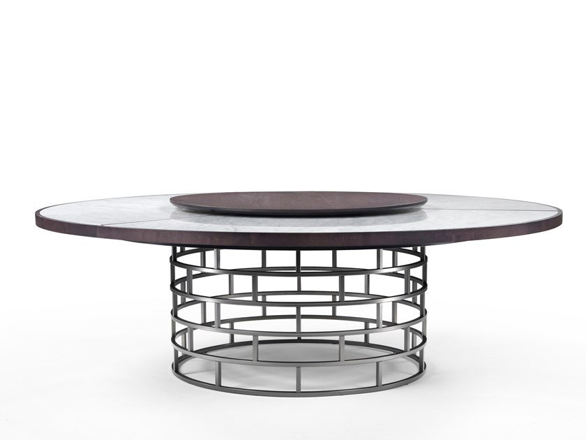 Round table with Lazy Susan CROWN by Mood by Flexform