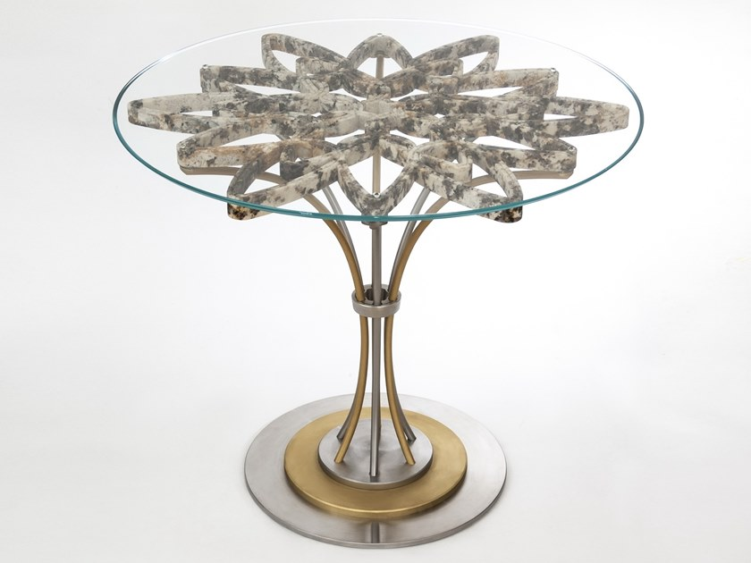 Round granite, glass, brass and stainless steel table CROWN by MANEDA