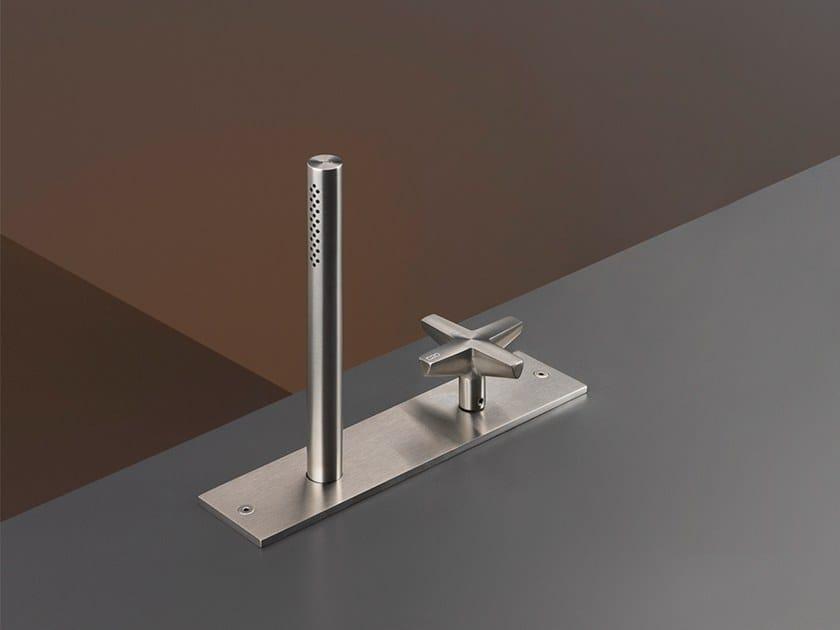 Rim mounted hydroprogressive mixer set with hand shower CRX 24 by Ceadesign