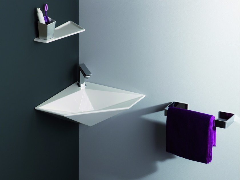 Wonderful Corner Wall Mounted Washbasin CRYSTAL | Corner Washbasin By Olympia Ceramica Pictures